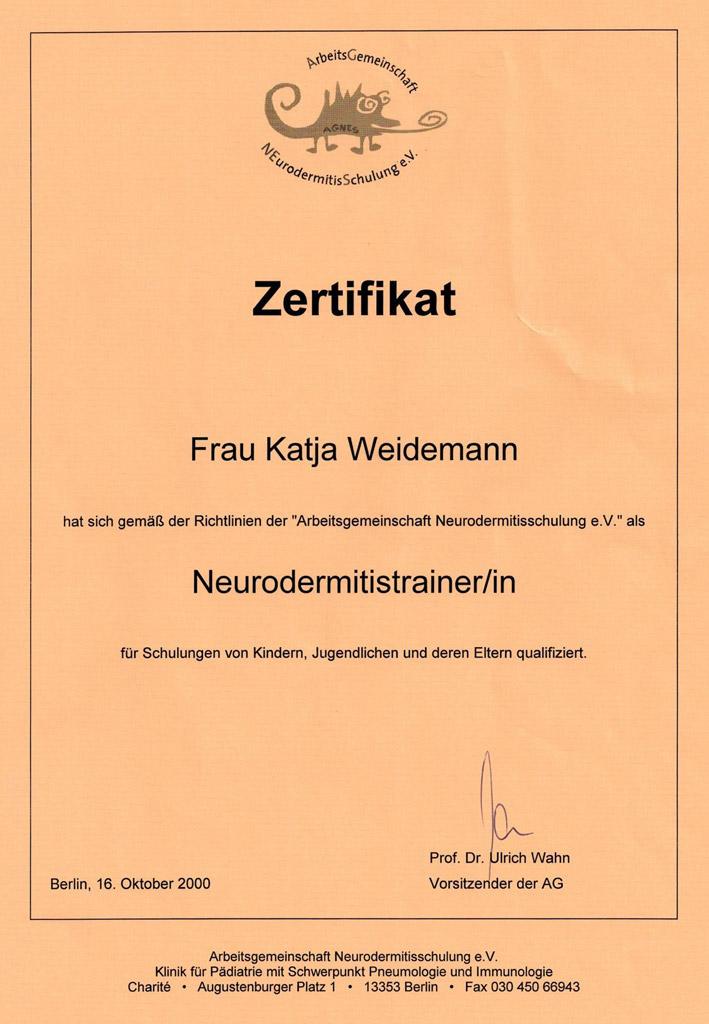 Zertifikat | Zusatzqualifikation für Neurodermitis